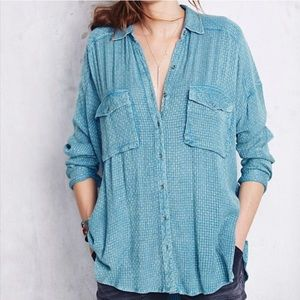 Free people blue button down